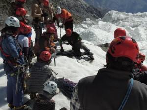rescue exercise on crevasse