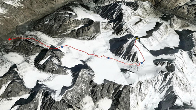 From the base camp to the summit of Thalo Zom (Google Earth image)