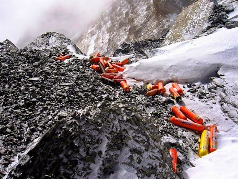 Oxygen bottles in the Everest ascent.